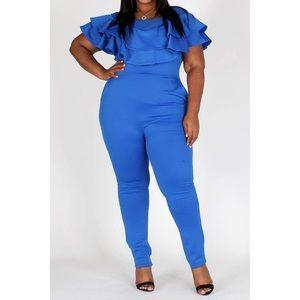 Plus Size Royal Blue Bodycon Jumpsuit by EIEN